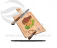 Kit tábua quadrada com garfo e faca tramontina VRB1273-2
